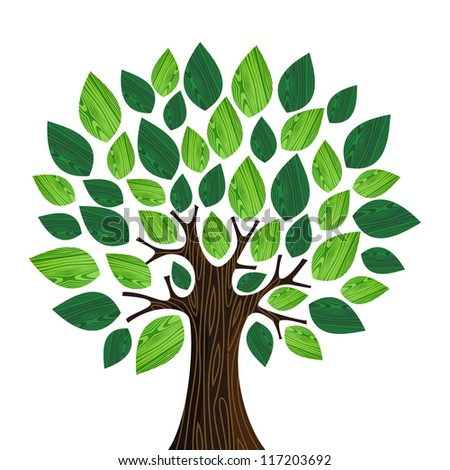 Isolated Eco friendly tree with green wooden leaves illustration. Vector file layered for easy manipulation and custom coloring. - stock vector