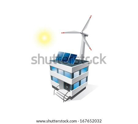 Isolated eco office building with solar panels and wind turbine  - stock vector