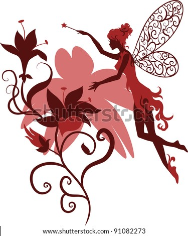 Isolated elegant silhouette graceful fairy with a magic wand flying among the flowers. Ornate flowers on a background surrounded person. For stylish and luxurious designs and for fantasy designs. - stock vector