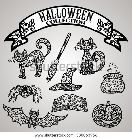 Isolated elements with floral lace ornament for Halloween collection. Vector illustration