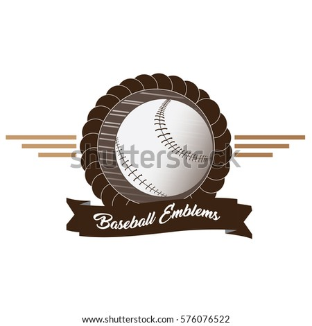 Isolated emblem with a baseball ball, Vector illustration