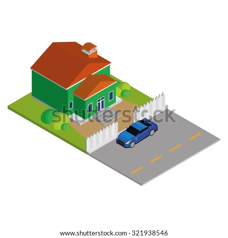 Isolated environment with a car and a house