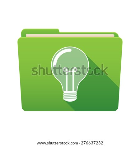 Isolated file folder icon with a light bulb - stock vector