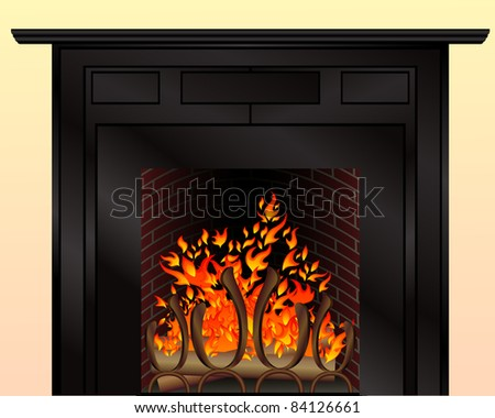 Isolated fireplace with burning fire - stock vector