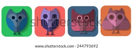 Isolated flat owl icons on purple background