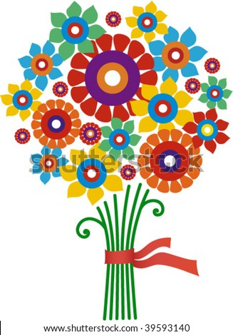 isolated flower bunch - stock vector