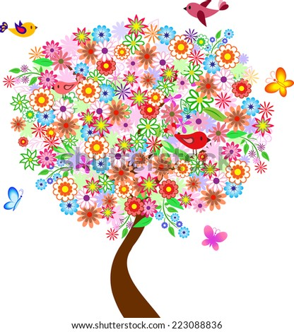 Isolated Flower Simmer Tree with Birds and Butterflies on White Background