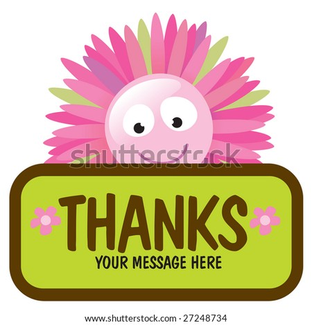 Isolated flower with sign (add your own message) - stock vector