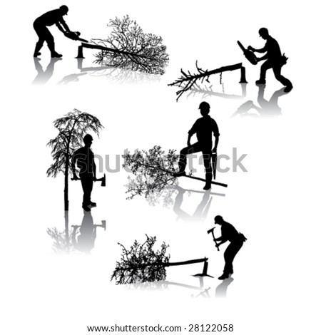 Isolated forestry workers with different tools - stock vector