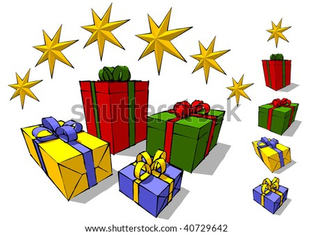 Isolated four cartoon gift boxes with stars - stock vector