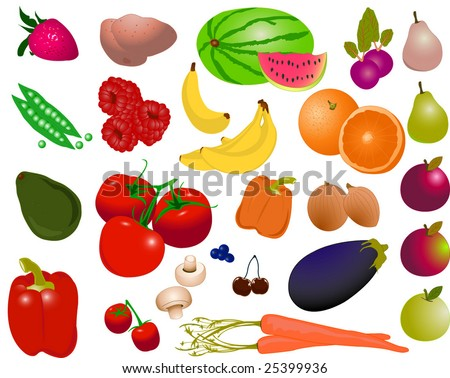 Isolated fruit and vegetables