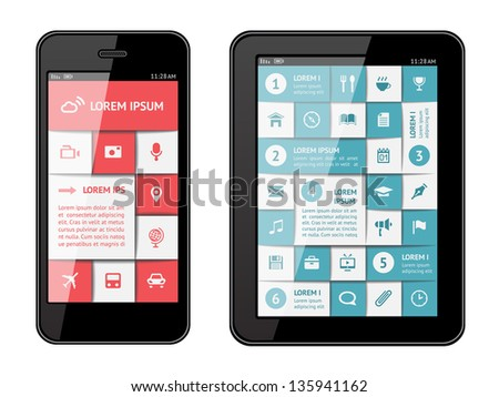 Isolated gadgets with design elements and templates. EPS10 vector illustration. - stock vector