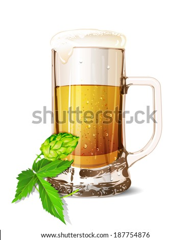 Isolated glass of beer with drops. Realistic mug. Vector illustration. - stock vector