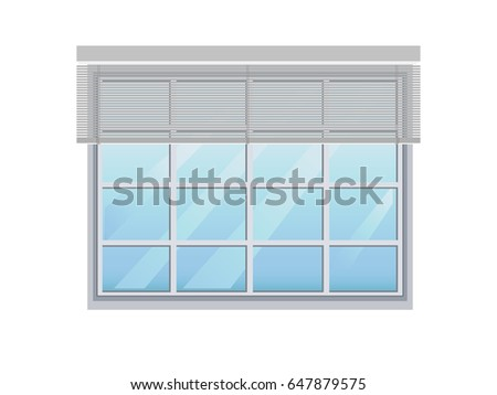 Isolated glass window. Curtain up.
