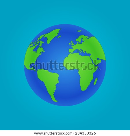 Isolated Globe icon and green map of the continents of the world. Vector illustration EPS10 - stock vector