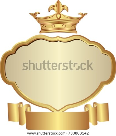 isolated golden crown and frame and ribbon