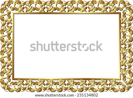 isolated golden frame  - stock vector