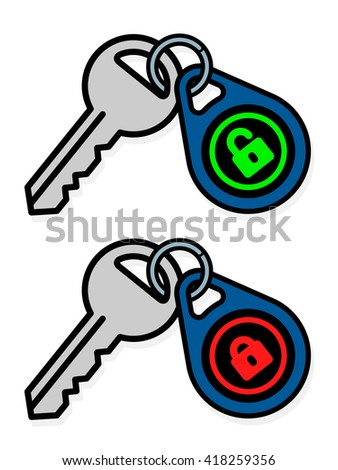 Isolated gray metal keys attached to blue, red and green tag badges over white background - stock vector