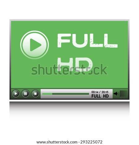 Isolated green Full HD video player - stock vector