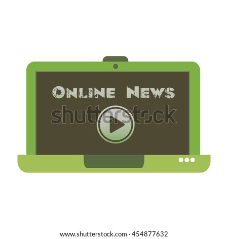 Isolated green laptop with play button design and the text online news written on its screen