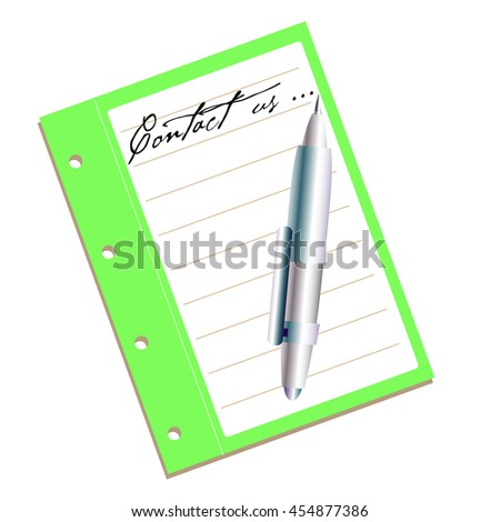Isolated green notebook with a pen and the text contact us written on the notebook with handwritten letters - stock vector
