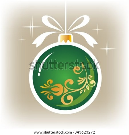 Isolated green  ornate Christmas ball on a gray background. - stock vector