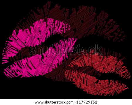 isolated grunge lips print - illustration - stock vector