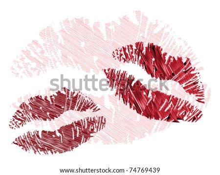 isolated grunge lips print on white - illustration - stock vector