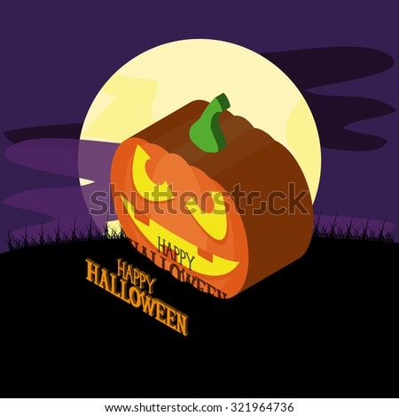 Isolated halloween icon on a landscape with a moon