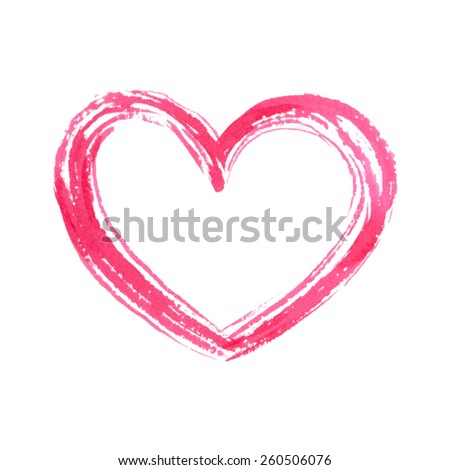 Isolated hand drawn heart. Vector watercolor. Romantic background. - stock vector