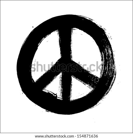 Isolated hand drawn peace symbol brush style composition. EPS10 Vector file organized in layers for easy editing. - stock vector