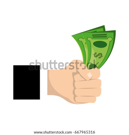 isolated hand taking money