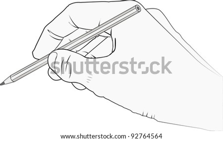 isolated hand with pencil