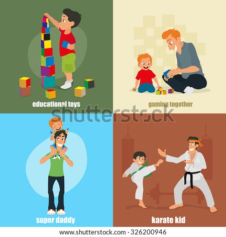 isolated icons: educational toys, gaming together, supper daddy, karate kid. vector illustration. - stock vector