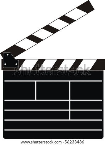Isolated illustration - cinema clean clapboard on white background - stock vector