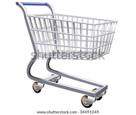 Isolated illustration of a stylized shopping cart - stock vector