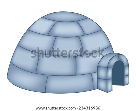 Isolated illustration of an igloo on white background - stock vector