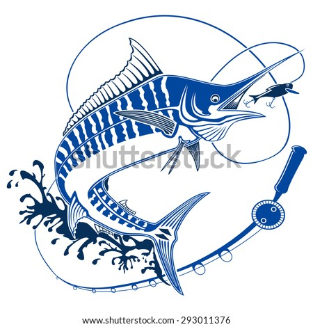 Isolated illustration of marline fish in waves with fishing rod. Vector illustration can be used for creating logo and emblem for fishing clubs, prints, web and other crafts. - stock vector