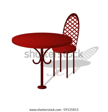 Isolated illustration of table and chair