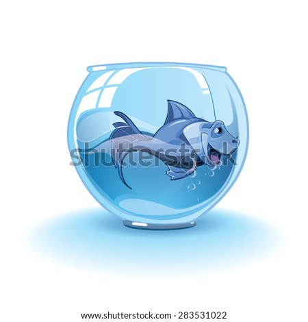 Isolated illustration on white background with little blue small fish in an aquarium