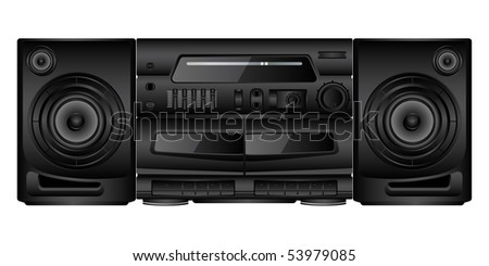 Isolated image of a boombox. Vector illustration. - stock vector