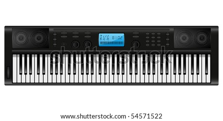 Isolated image of an electronic piano. Vector illustration.