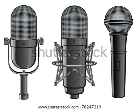 Isolated image of microphones. Vector illustration. - stock vector