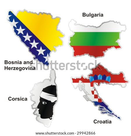 isolated international flag in map shape - stock vector