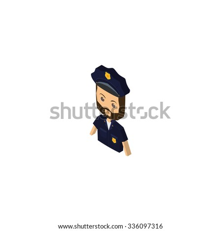 Isolated isometric police on a white background