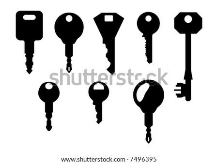 isolated key shapes on white background - stock vector
