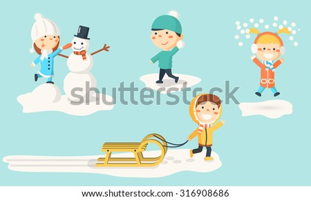 Isolated kids illustrations in winter. Children making snowman, playing with snow and sledding. - stock vector