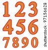 Isolated knitted numeral set - stock vector