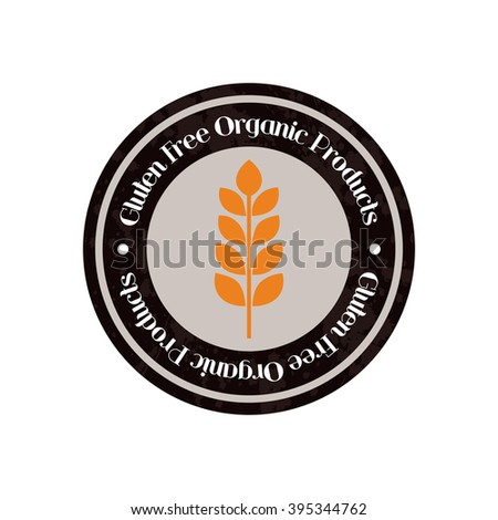 isolated label with text and a gluten icon for gluten free products