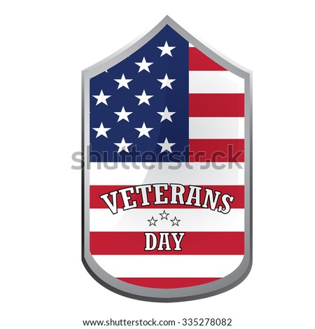 Isolated label with text and colors for veteran's day